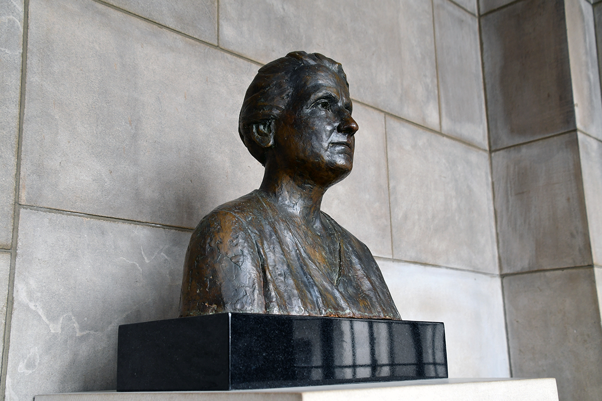 View of Grace Abbott bust from the right side.