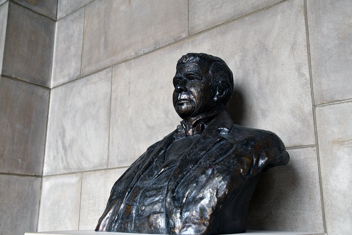 View of Edward Creighton bust from left side.