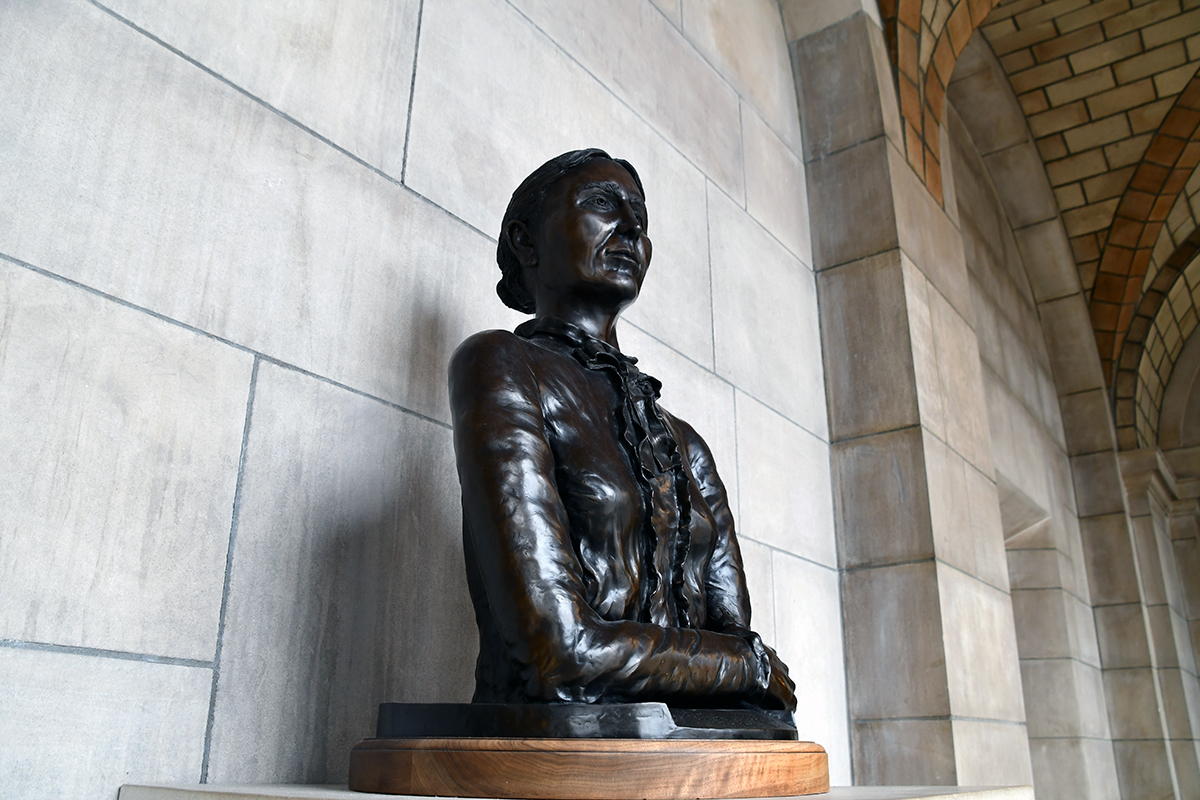 View of Susette LaFlesche Tibbles bust from the right side.