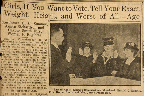 "Newspaper clipping, headline: ""Girls, If You Want to Vote, Tell Your Exact Weight, Height, and Worst of All--Age"""