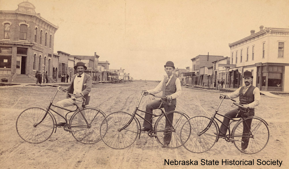 Three men with bicycles in Alliance, July 1891 [RG2956.PH0-000024]