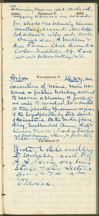 Morton's diary entry of April 8, 1874 -- Arbor Day (SFN 103430)