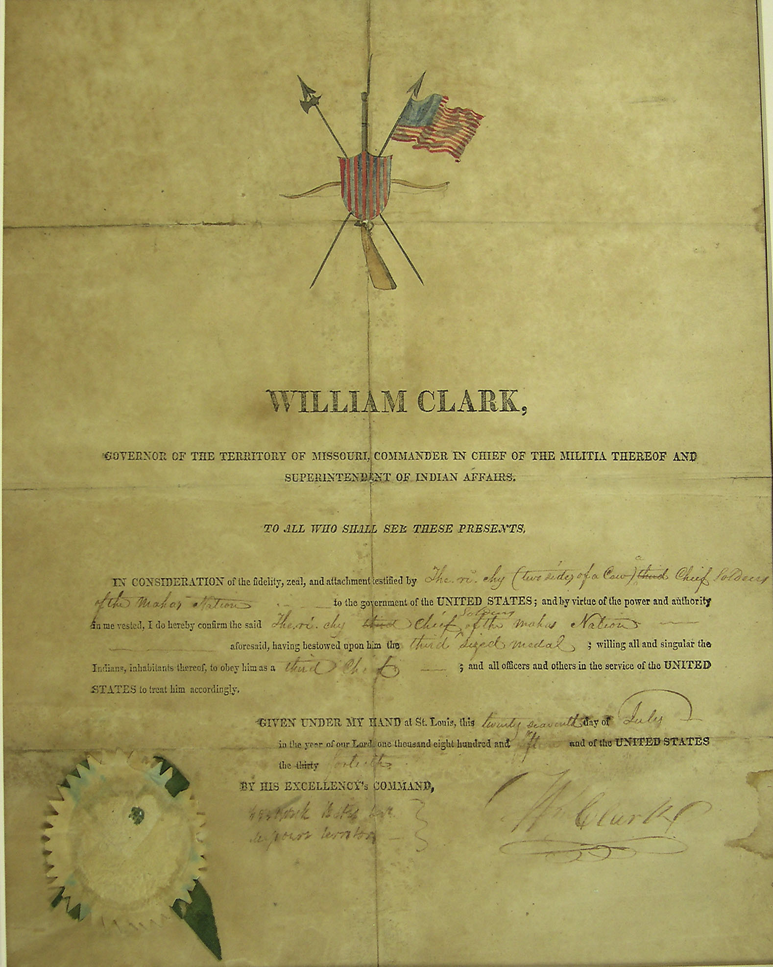"Indian ""Commission"" Signed by William Clark 91563)"