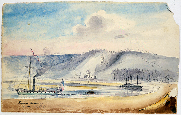 painting of steamboat on river beside bluffs