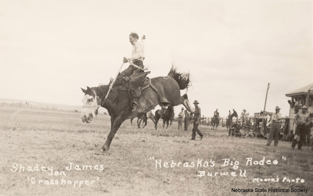 Shadey James at Burwell Rodeo, ca. 1925