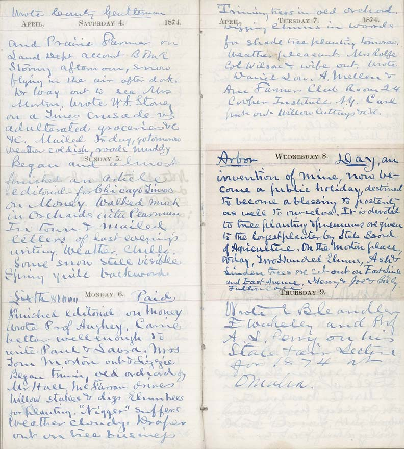 J. Sterling Morton's diary (RG1013.AM, SG1, S4.F37, B24)