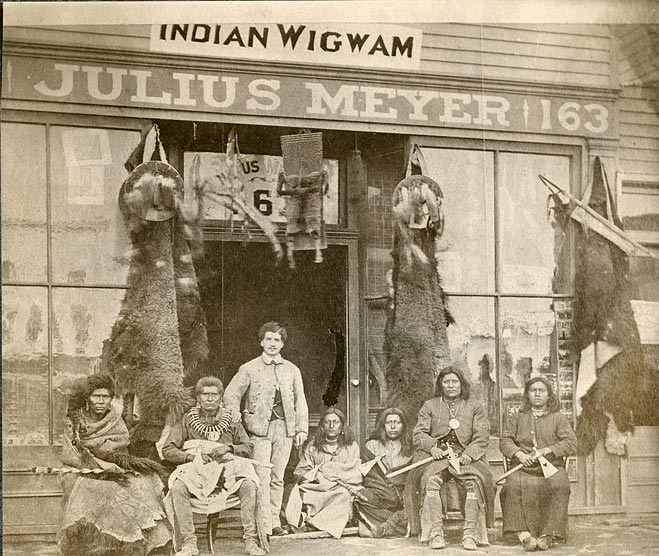 Julius Meyer in front of his store at 163 Farnam Street, Omaha, Nebraska, about 1875.