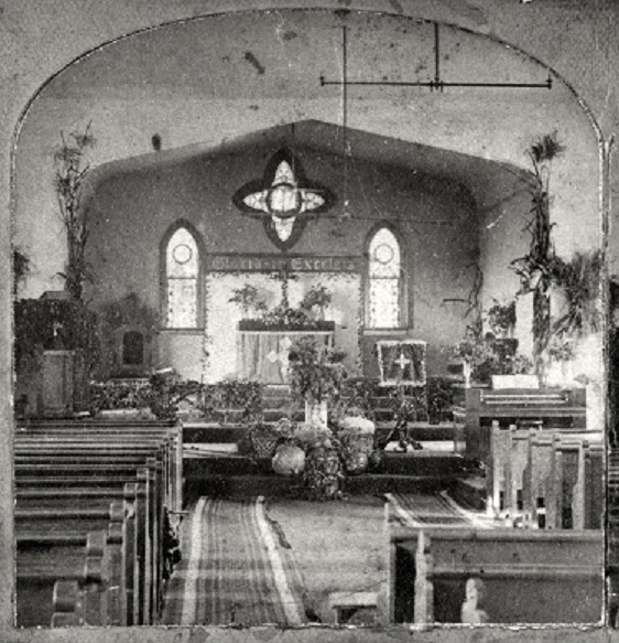 This photo by Edric Eaton shows the interior of one of the buildings used as Trinity Cathedral before construction of the existing cathedral building. NSHS RG2341-944