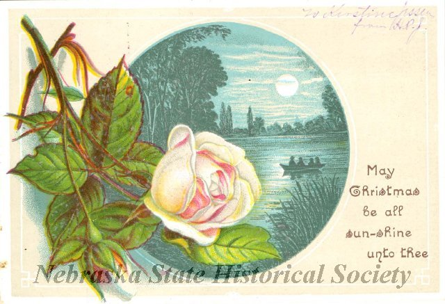 Christmas card with rose from 1880