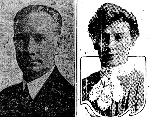 Newspaper portraits of a man and woman, Claude and Nellie Nethaway
