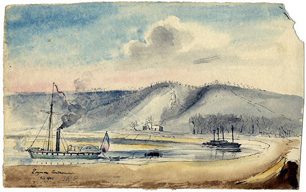 painting of Engineer Cantonment showing steamboat in foreground