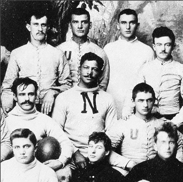 Photo of University of Nebraska Football team, circa 1890, George Flippin in the center