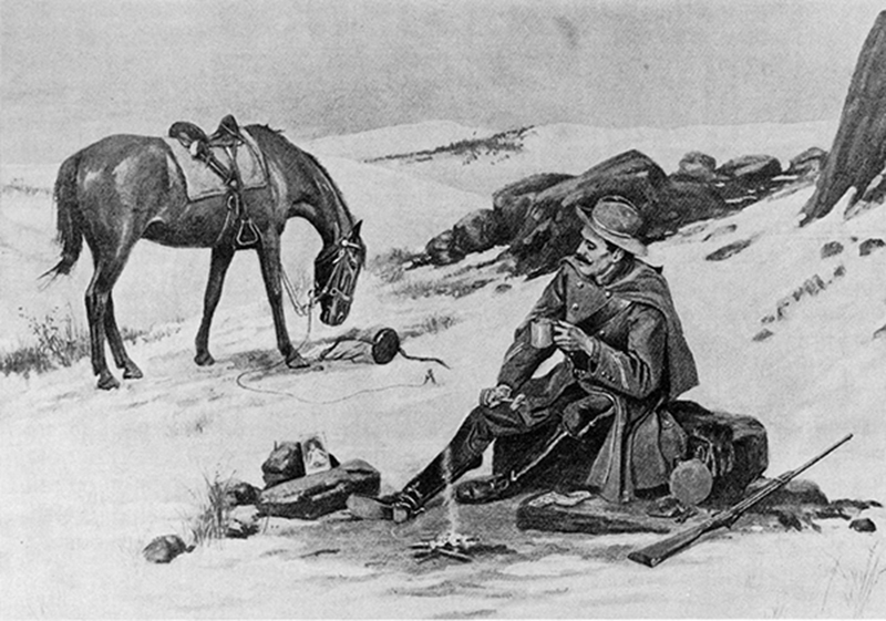 Lithograph of frontier soldier sitting by campfire in snow, with horse nearby