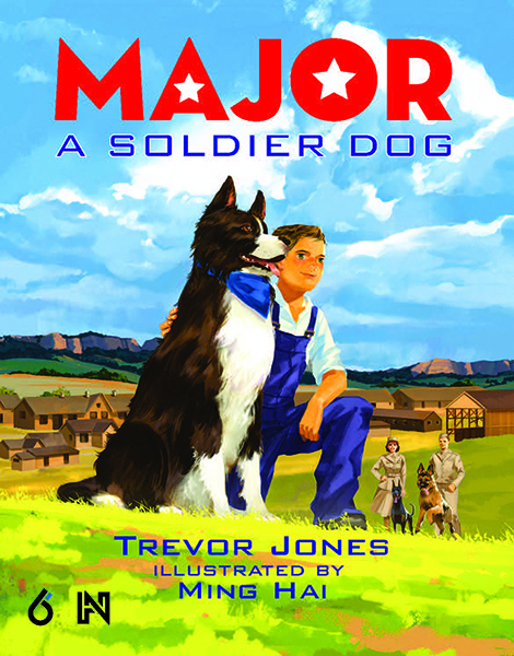 illustrated book cover, shows boy kneeling beside dog, Pine Ridge buttes in background