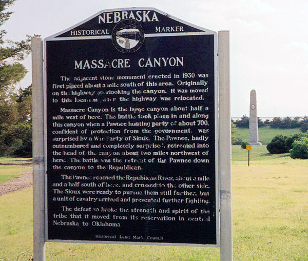 Massacre Canyon historical marker