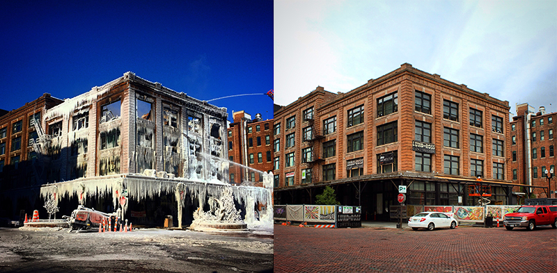 M's Pub at 11th and Howard in Omaha's Old Market: left, after it was gutted by fire on January 16, 2016; right, being rebuilt in August 2017. Photos by Ryan Reed, NSHS