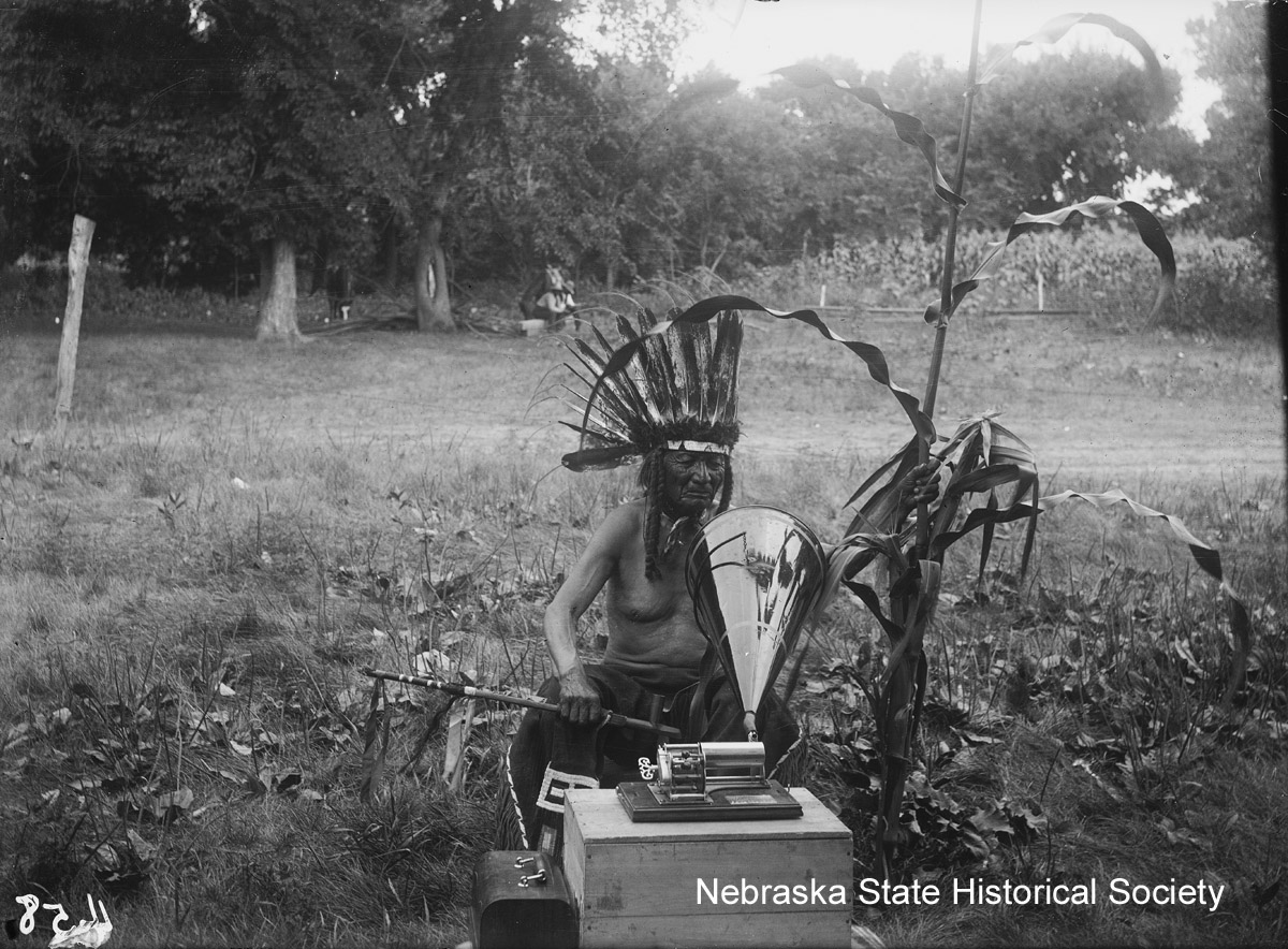 Good Old Man recording the Corn Song, 1905 [RG2039-84]