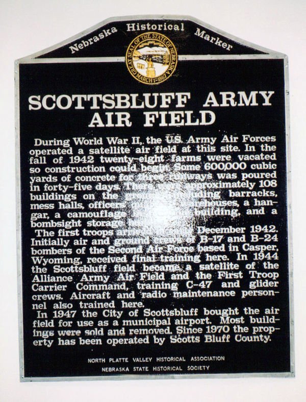 Scottsbluff Army Air Field Historical Marker