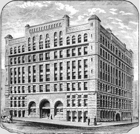 The Omaha Bee building (left) founded by Edward Rosewater. From Omaha Illustrated (1888)