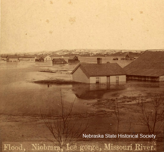 The town of Niobrara, located along the Missouri River in northeast Nebraska, flooded in 1881