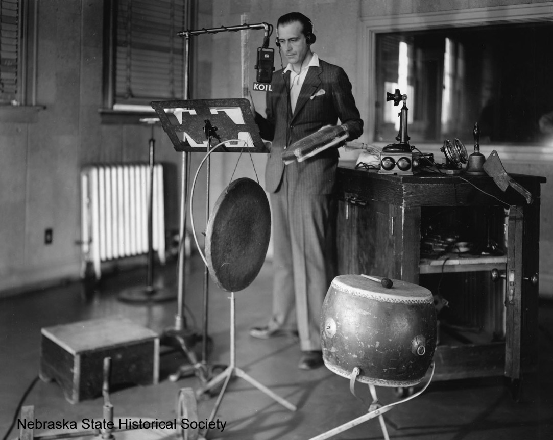 KOIL radio foley artist, 1937 [RG1833.PH000002-000003]
