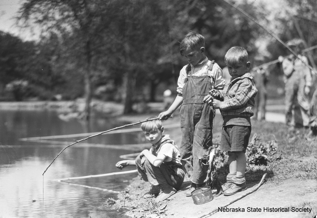 Boys fishing at Hanscom Park, Omaha, 1928 [RG3882.PH0019-0007-2]