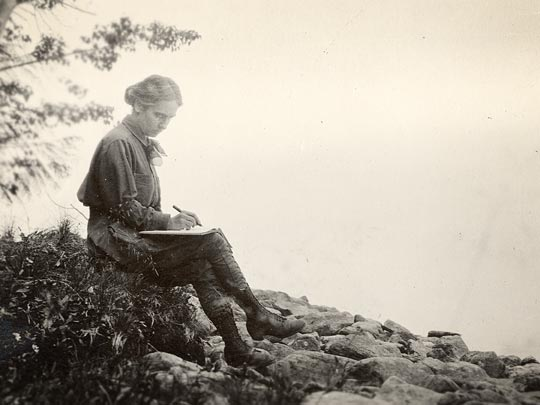 Maggie Gehrke with travel journal. (RG0849-6 97 98, sf 92202)