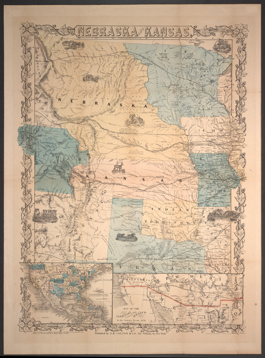 Image of a paper map of Nebraska and Kansas