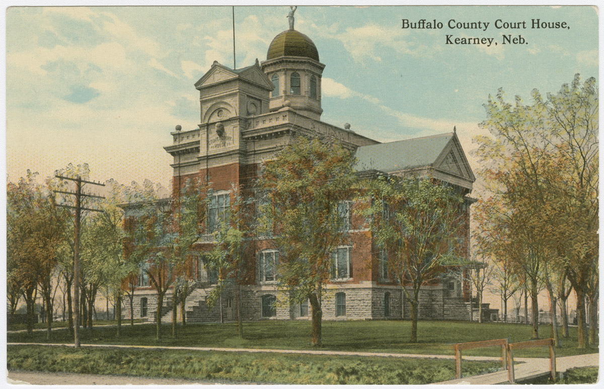 A picture postcard of the Buffalo County Courthouse, Kearney, Nebraska, built in 1890.