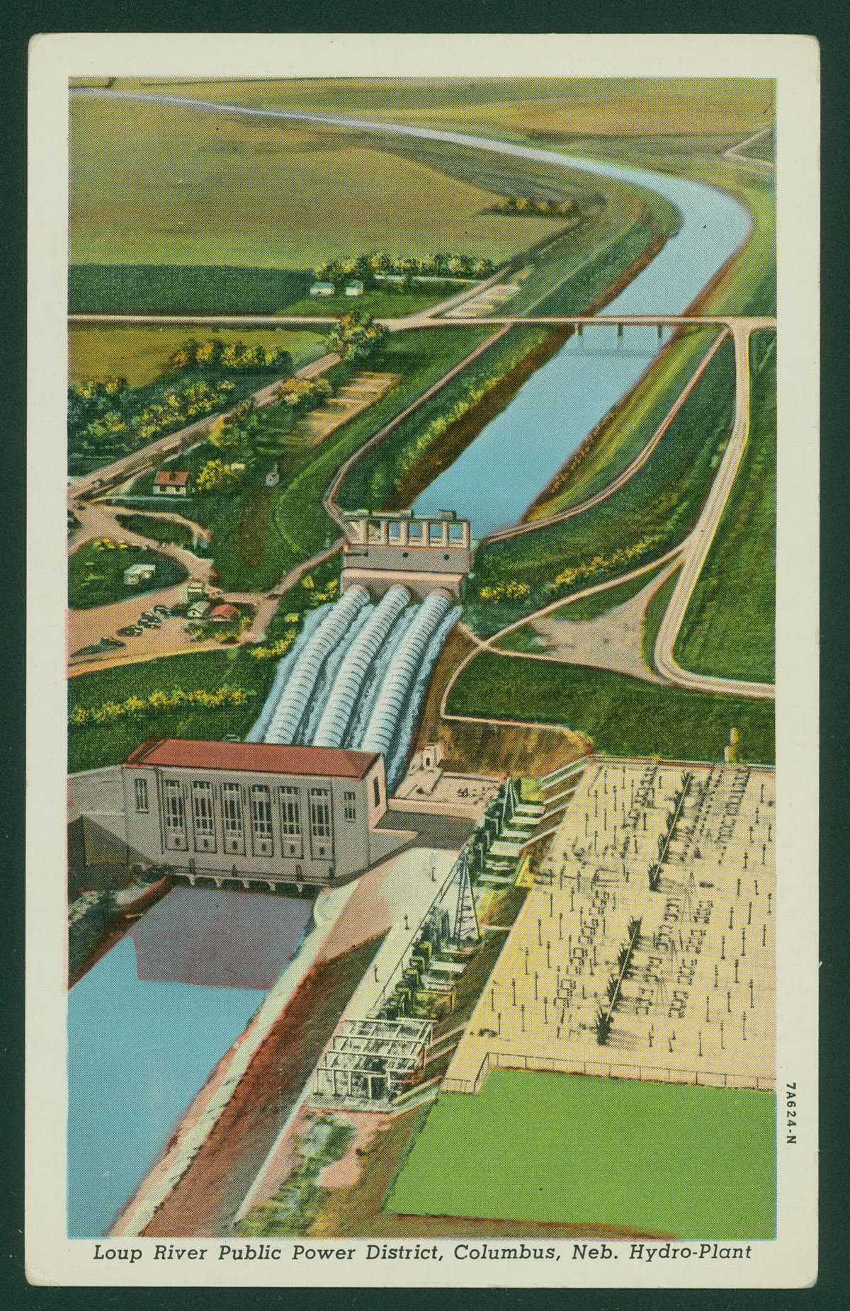 Lithographic postcard showing Loup River Public Power District, Columbus, Nebraska, Hydro-plant.