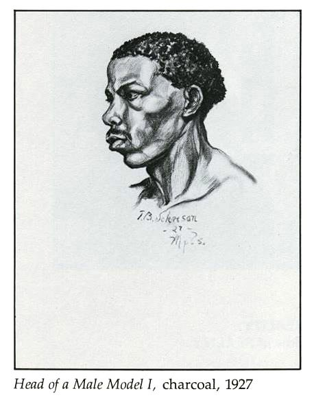 Head of a Male Model I, charcoal, 1927