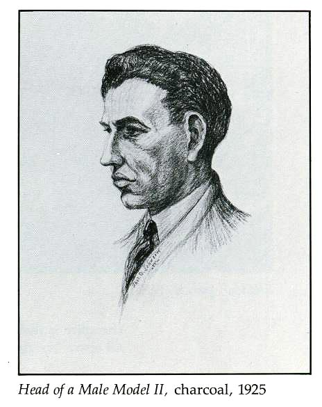 Head of a Male Model II, charcoal, 1925