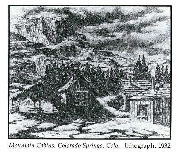Mountain Cabins, Colorado Springs, Colorado, lithograph, 1932