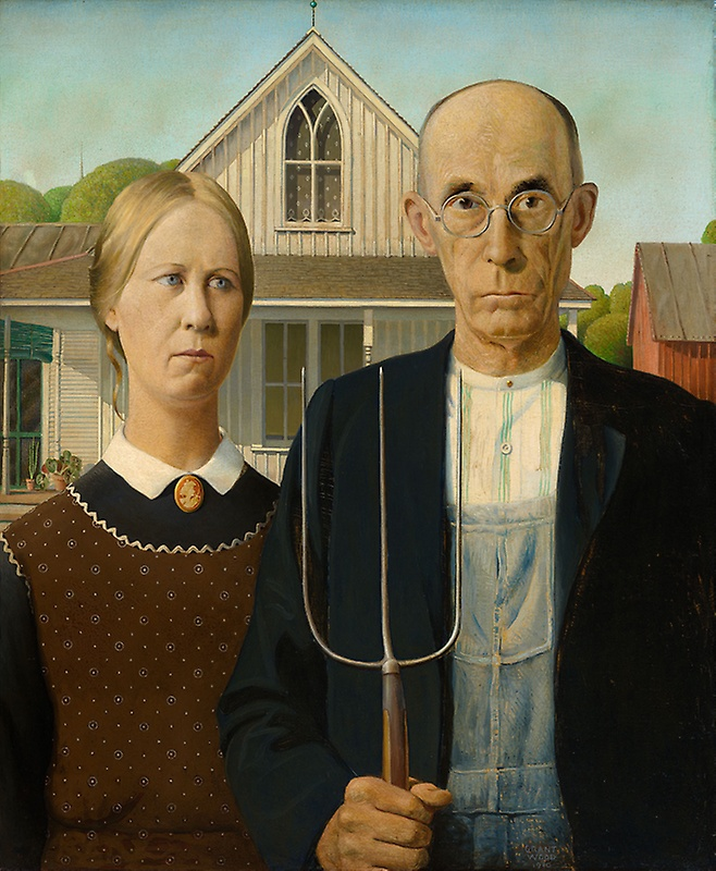American Gothic by Grant Woods [Art Institute of Chicago]