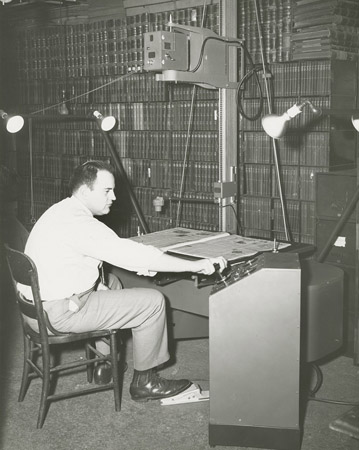 Microfilming at NSHS, 1952. [RG0014.PH000140-000008]