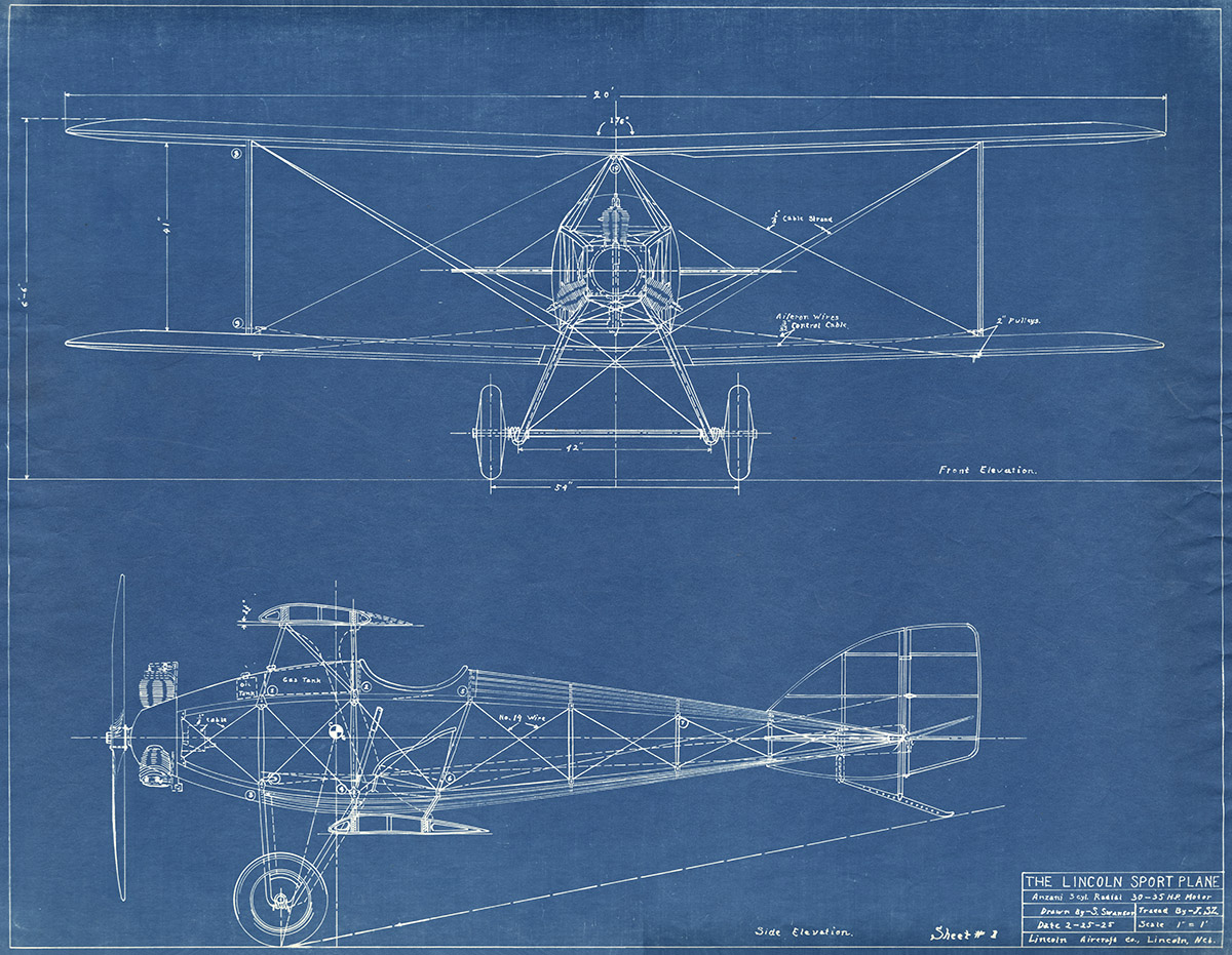 Blueprint image of the Lincoln Sport airplane.