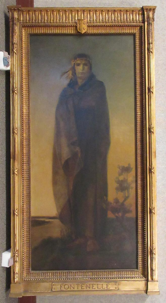 Logan Fontenelle painting and frame, full length portrait in traditional Native dress