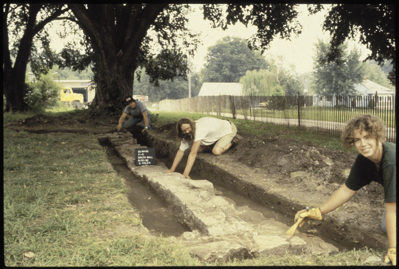 Archeology crew beginning excavation of a building foundation at Brownville.
