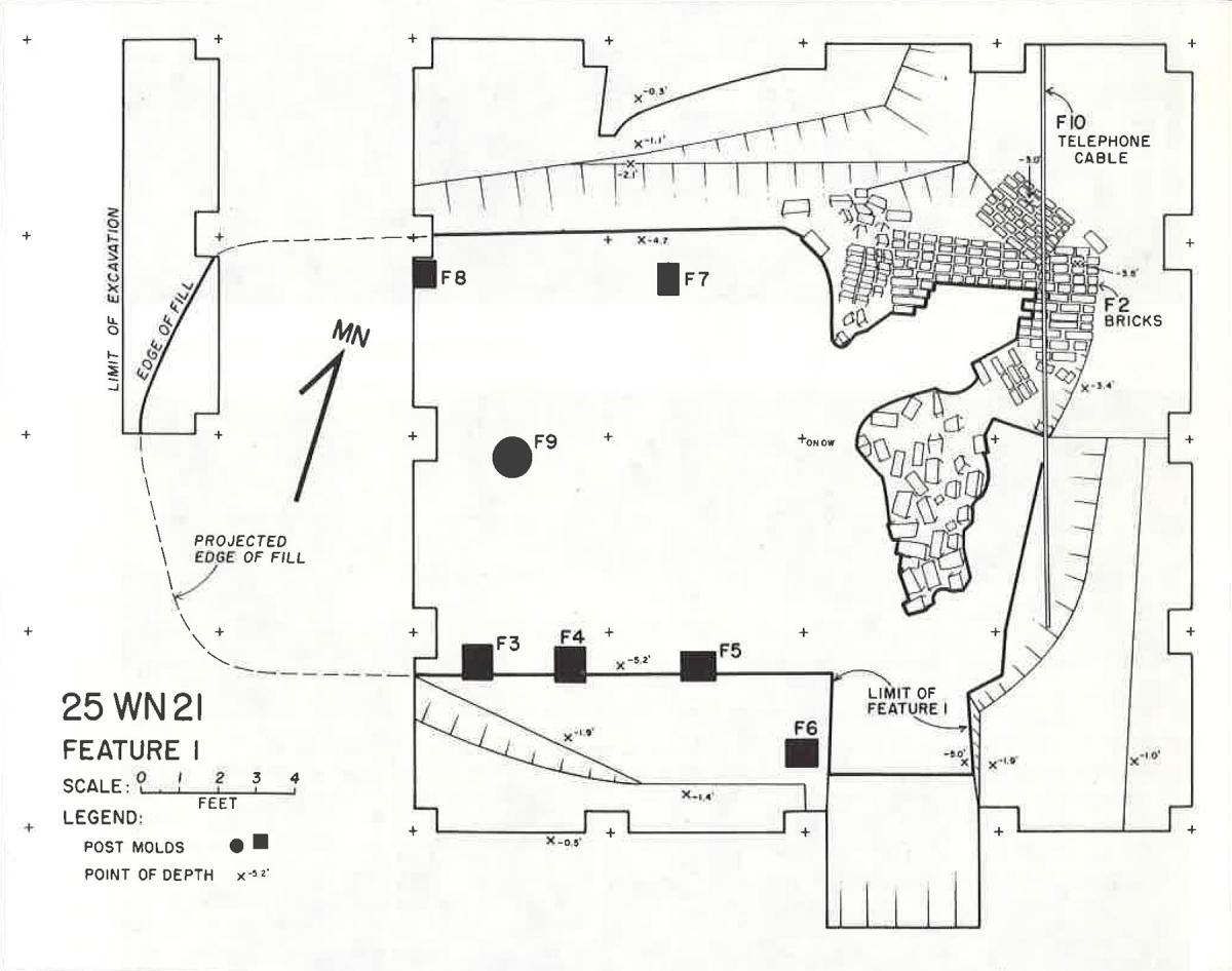 Plan view map of archeological excavation of a buried Cuming City cellar