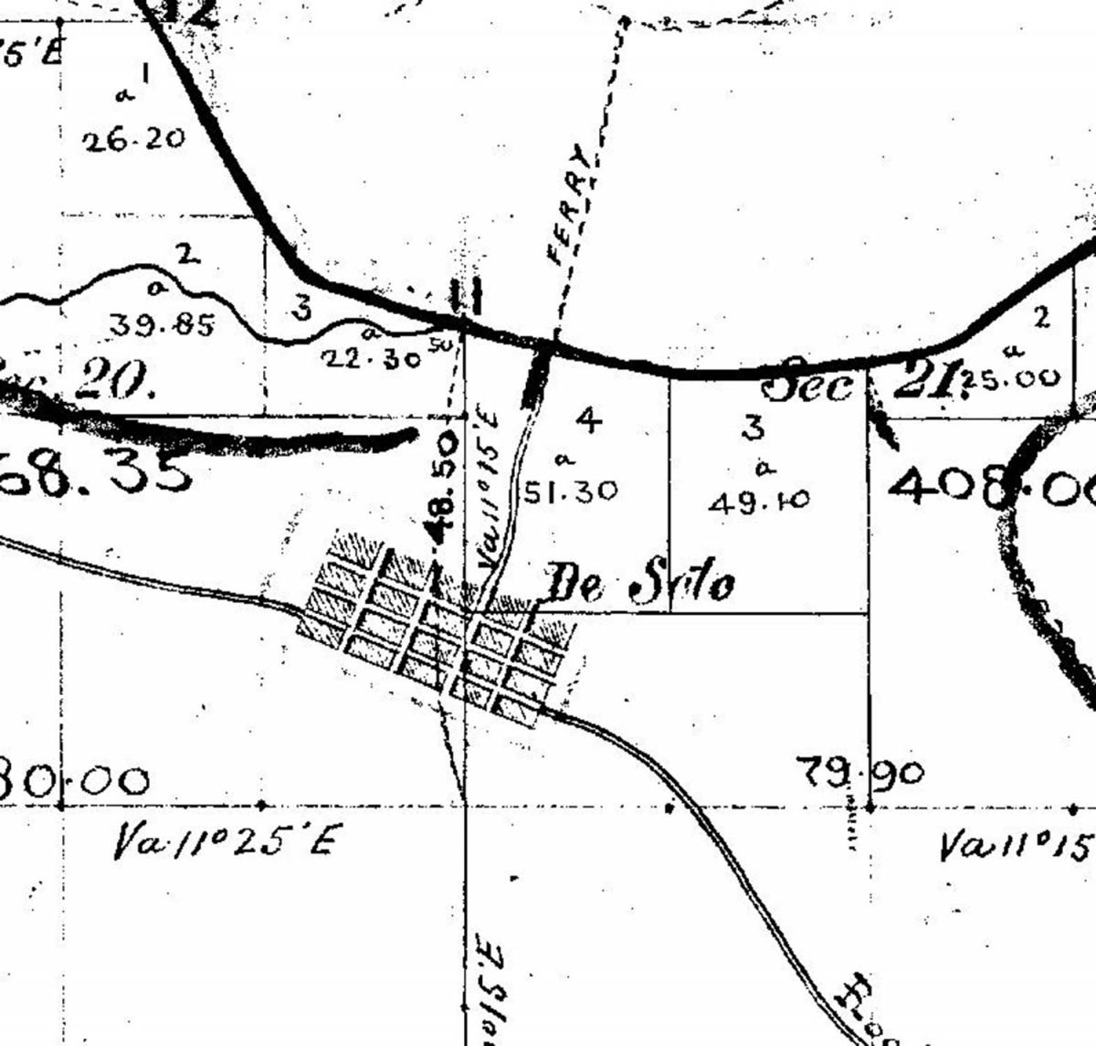1856 GLO Survey plat map depicting the town of De Soto