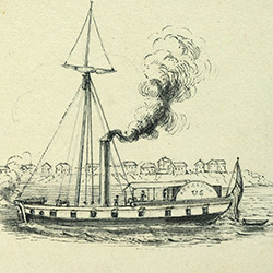 drawing of early steamboat with mast and smokestack