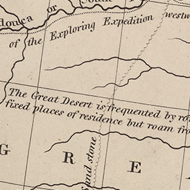 "map detail with words ""great desert"""