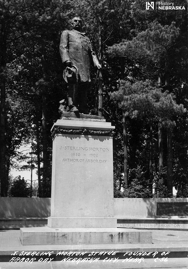 Standing statue of Morton at Arbor Lodge