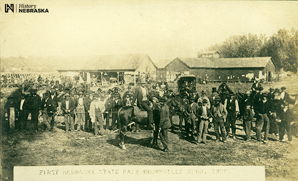 early fairgrounds, mostly men and cattle
