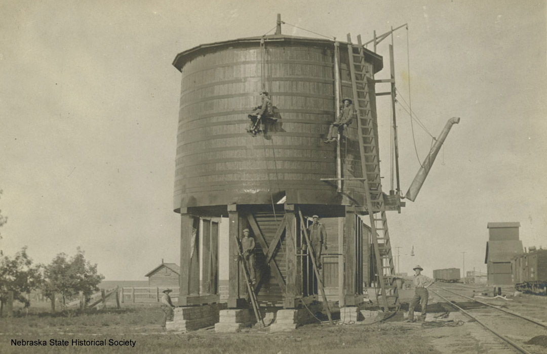 Railroad water tower in Perkins County, ca. 1910 [RG0802.PH60-1]