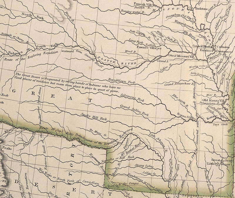 "map of Great Plains labeled ""Great Desert"""