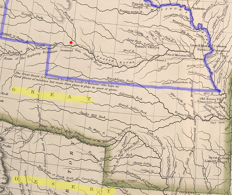 "Detail of map showing ""Great Desert"" highlighted and Nebraska outlined"