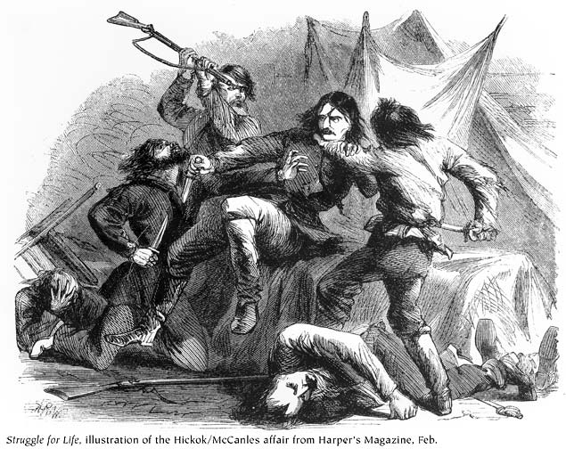 Illustration of the Hickok/McCanles affair from Harper's Magazine, Feb. 1867