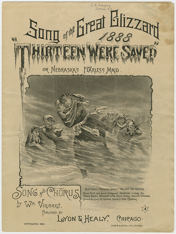 "sheet music cover, ""Song of the Great Blizzard of 1888, 'Thirteen Were Saved'"""