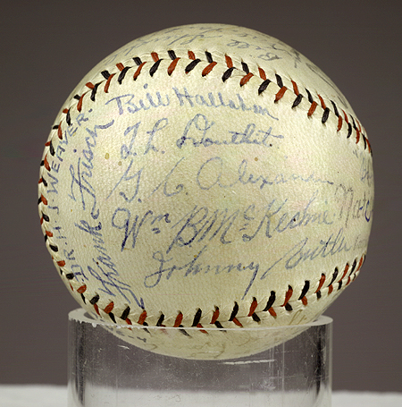 1928 World Series baseball with autographs from St. Louis Cardinals team members